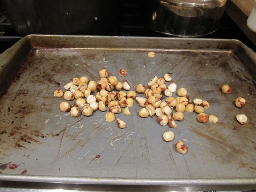 'Naked' hazelnuts ready for the oven!